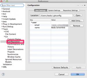 Screenshot zur Einrichtung von Git