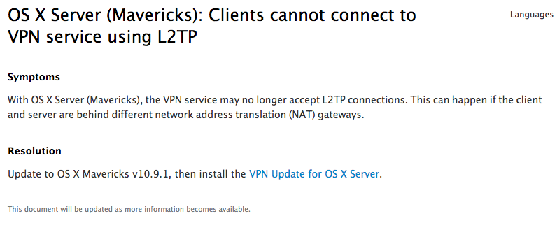 OS X Server (Mavericks): VPN L2TP funktioniert nicht