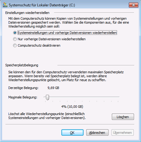 Datensicherung unter Windows – Wiederherstellungspunkte