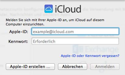 iCloud-Anmeldung