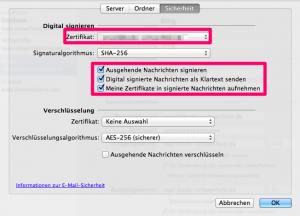 Digitale Signatur in Outlook 2011