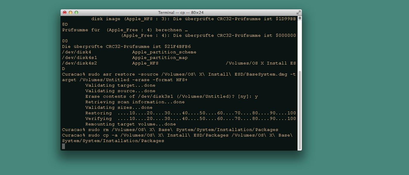 OS X Yosemite von einem bootfähigen USB-Stick installieren