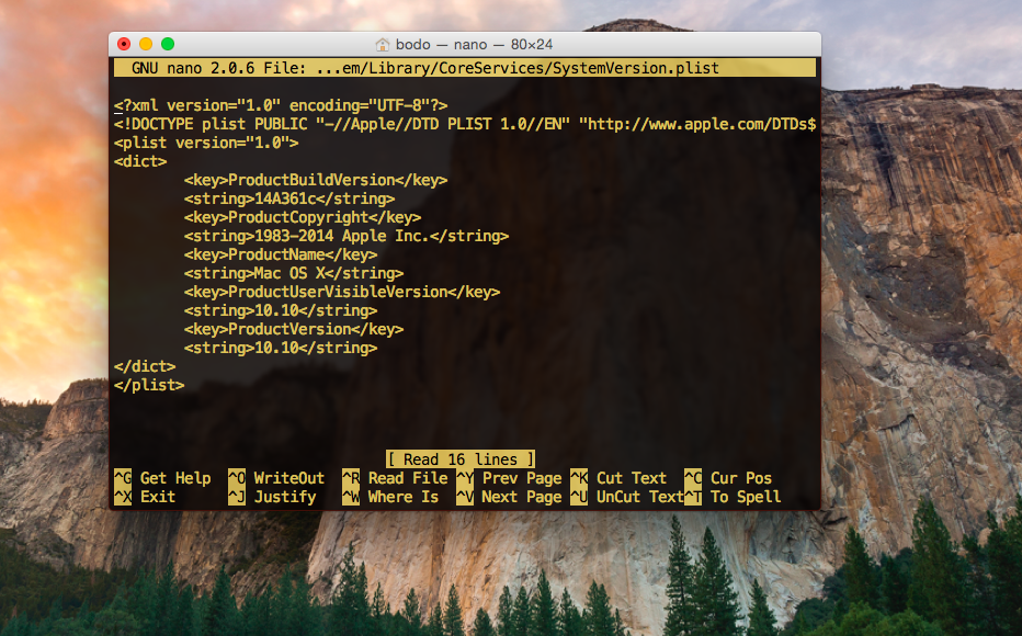 SystemVersion in OS X