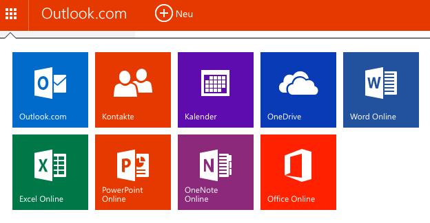 App-Leiste Outlook.com