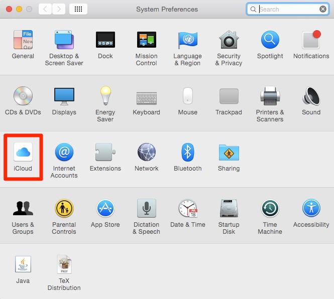 iCloud in den Systemeinstellungen