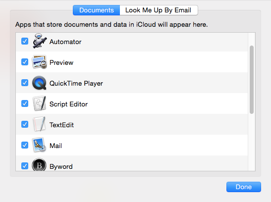 iCloud Drive Optionen