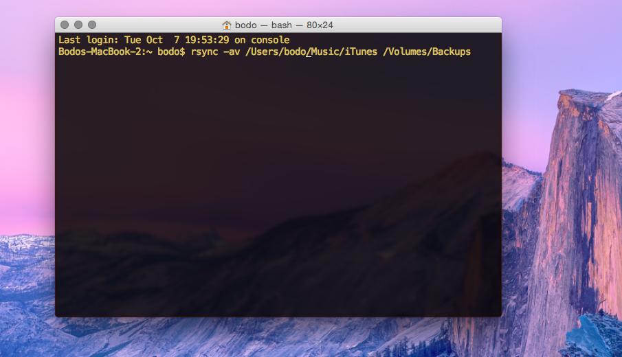 Datensicherung mit rsync unter OS X