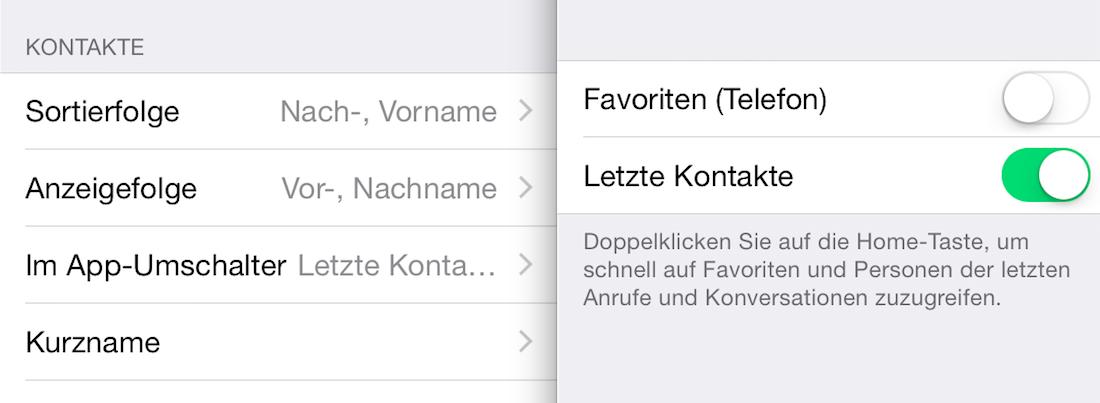 Konfiguration des App-Umschalters in iOS 8