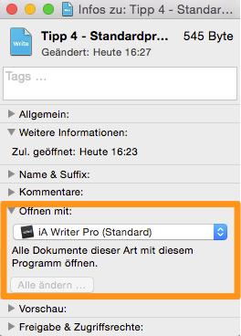 Das Datei-Info-Fenster in OS X