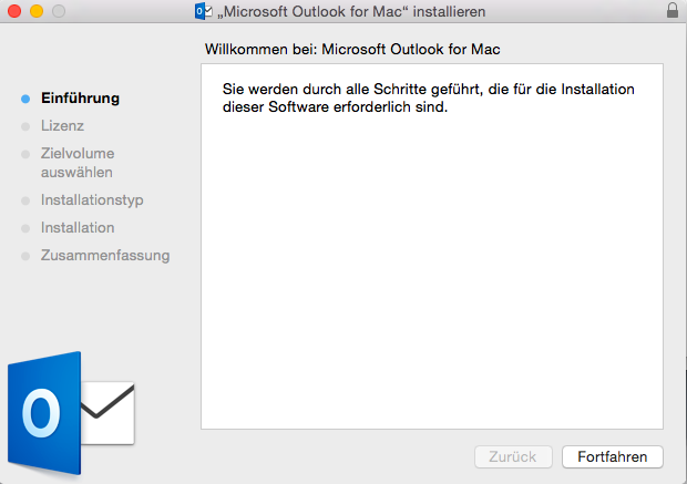 Installationsdialog von Outlook 2013