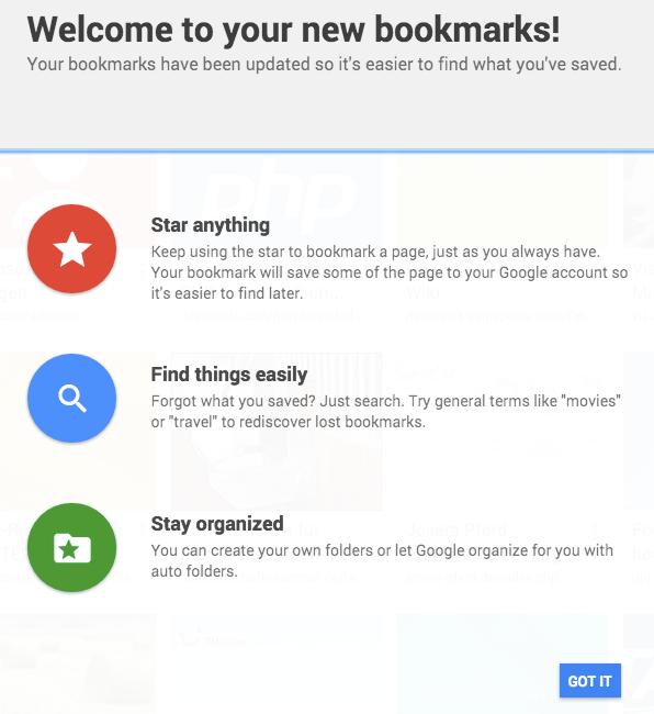 Info-Fenster zum neuen Bookmark Manager