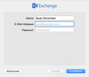 Benutzerdaten für Exchange