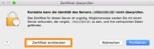 Zertifikat-Warnhinweis