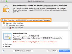 Sharepoint-Zertifikat akzeptieren