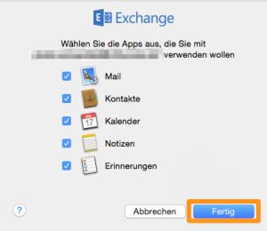 Apps für Exchange auswählen