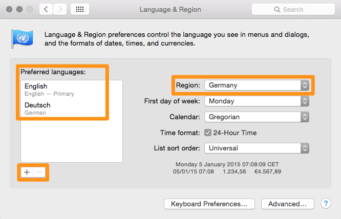 Language support in OS X