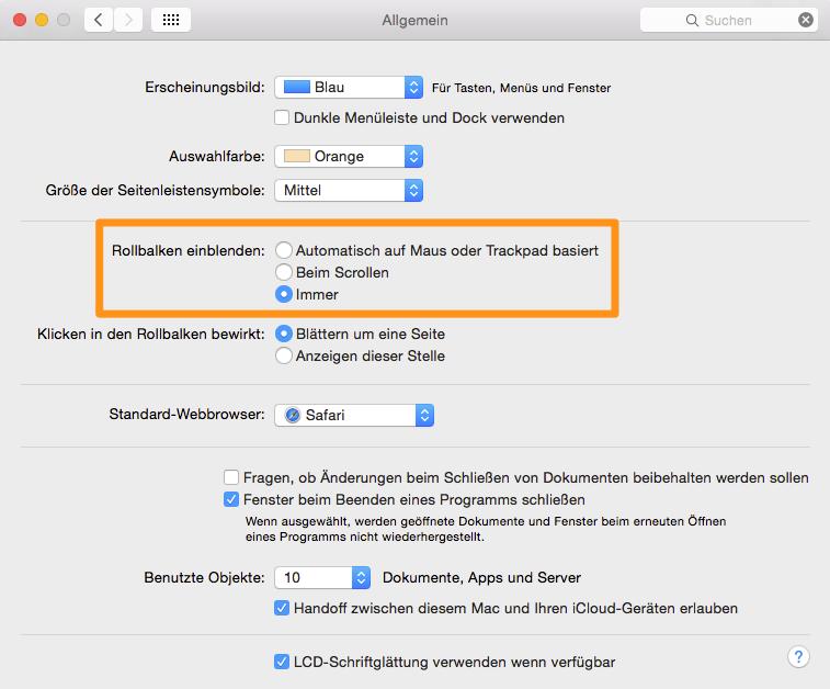 Scrollbar-Einstellungen in OS X