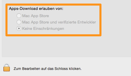 Apps-Einstellung in OS X