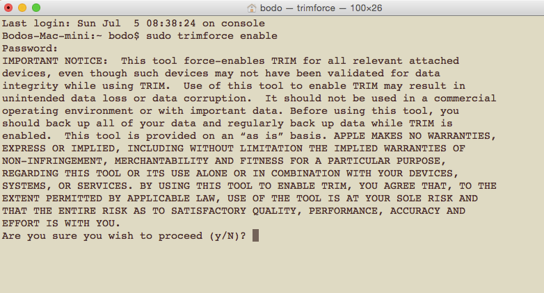 enable trimm support in os x terminal