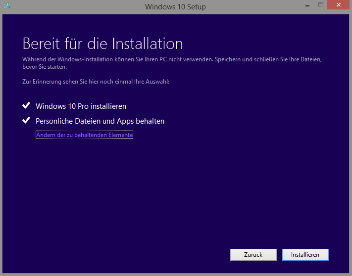 Upgrade-Fenster von Windows 10