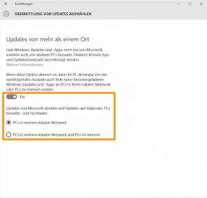 Update-Einstellungen in Windows 10