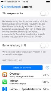 Batterieeinstellungen in iOS9