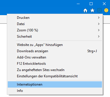 Internetoptionen in Windows