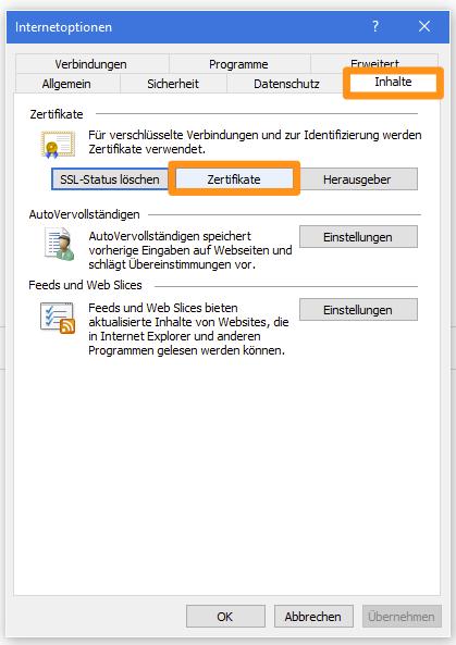 Inhalte-Fenster des Internet Explorers