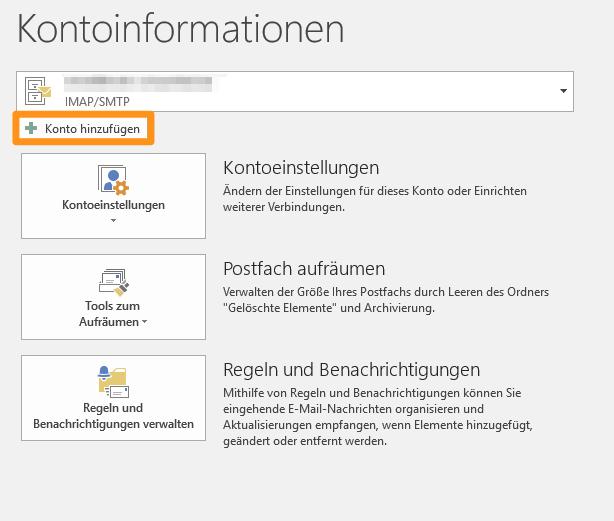 Outlook 2016 - Konto hinzufügen