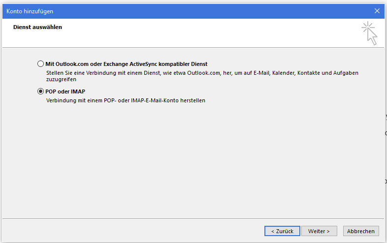 Outlook - EAS, POP3 oder IMAP
