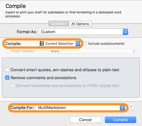 Compile text in Scrivener