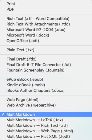 Exportformate in Scrivener