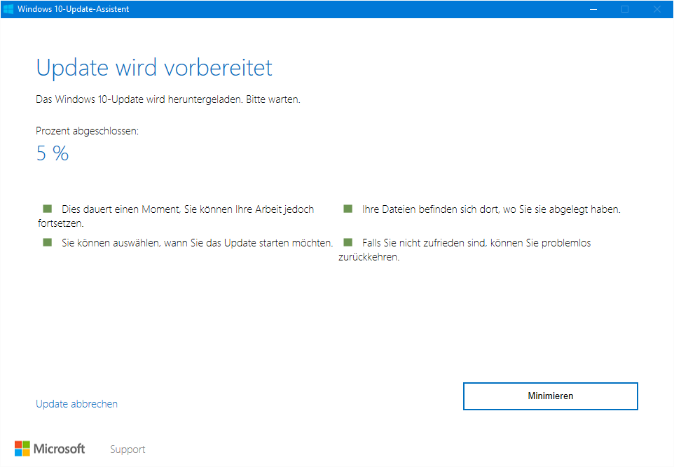 Windows 10 Anniversary Update-Fenster