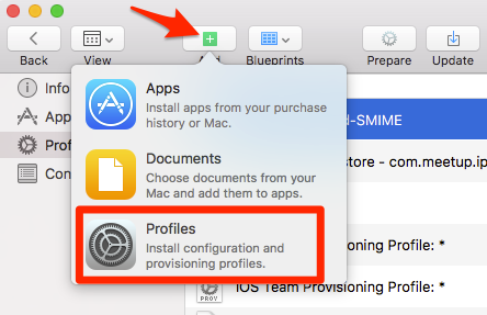add a profile in the apple configurator