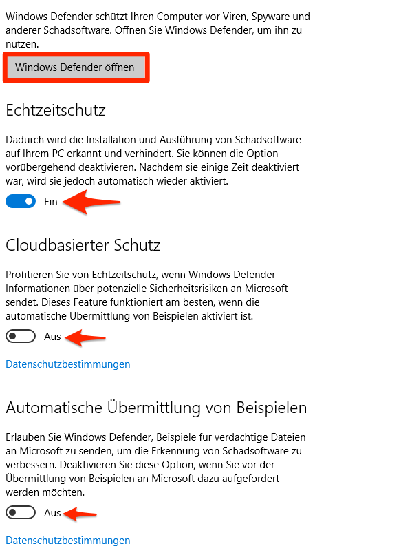 Configure Windows Defender