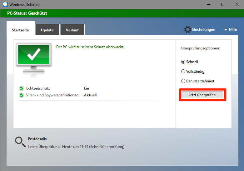Start Windows Defender