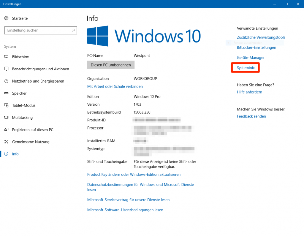 Systeminfo Windows 10