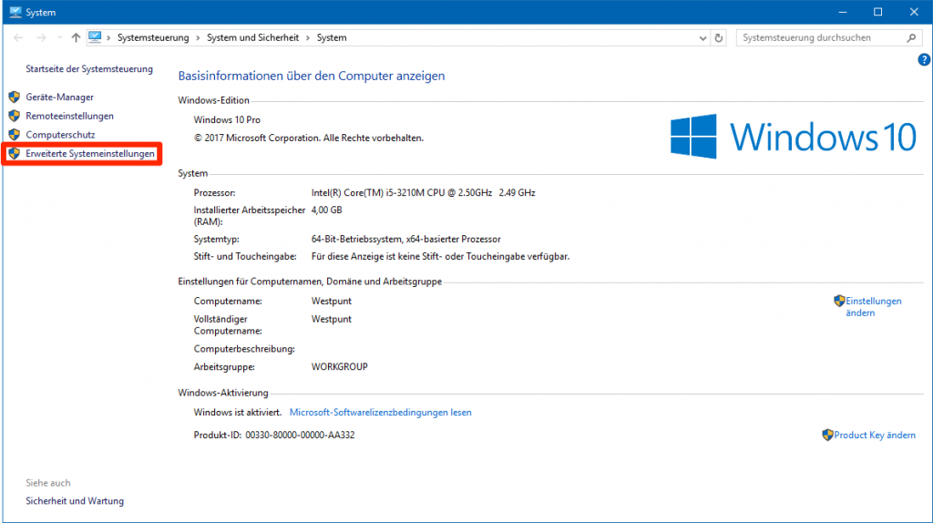 Erweiterte Systemeinstellungen in Windows 10