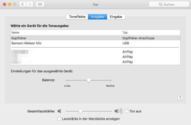 macOS sound output