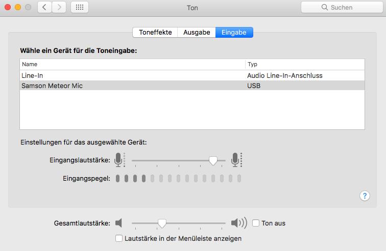 macOS sound input