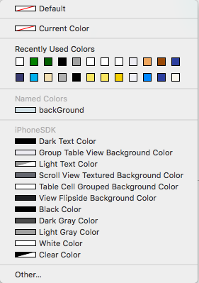 Select a color in the interface builder