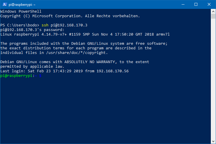 OpenSSH in der PowerShell