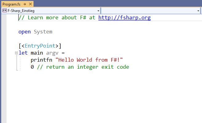 Code-Editor mit neuem F#-Projekt in Visual Studio 2019