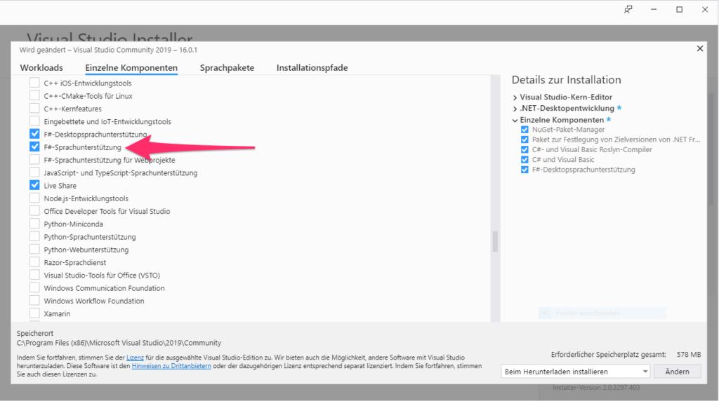 F#-Sprachunterstützung in Visual Studio 2019 aktivieren