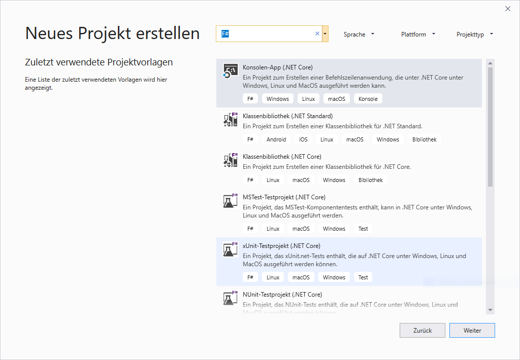 F#-Konsolen-App in Visual Studio 2019 erstellen