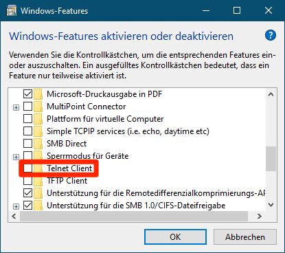 Telnet unter Windows 10 aktivieren