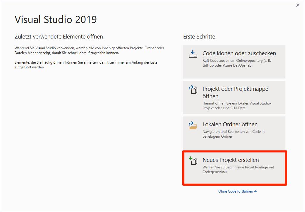 Neues Projekt in Visual Studio erstellen