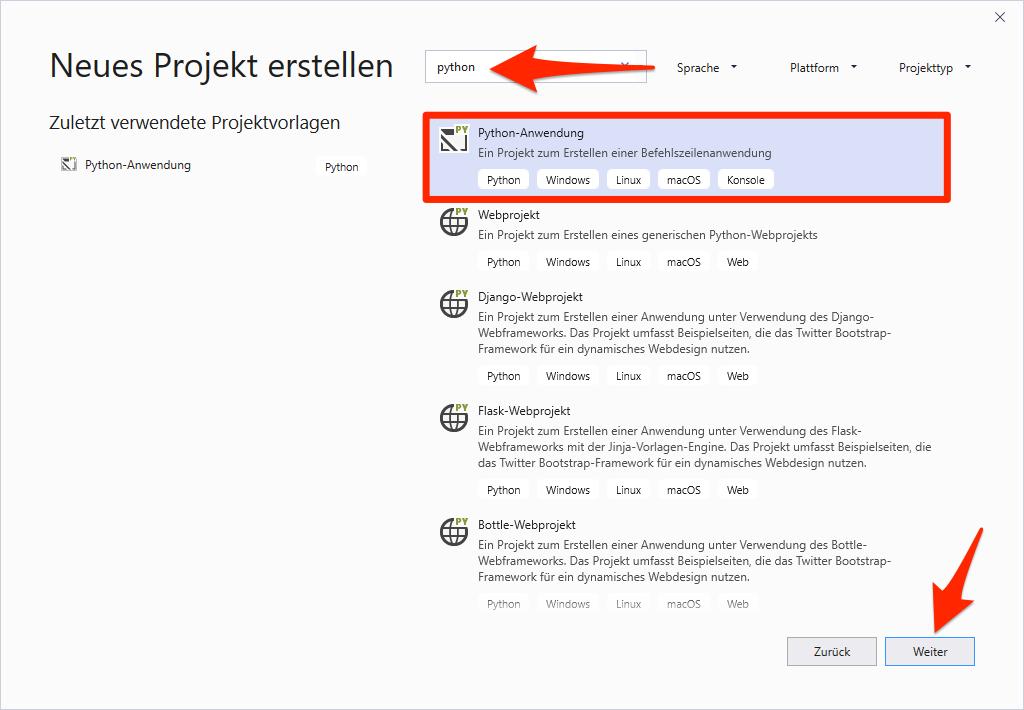 Python-Projekt in Visual Studio erstellen