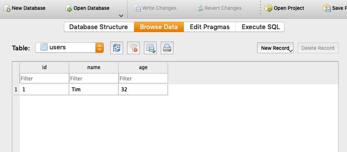 Tabelle im DB Browser anzeigen lassen