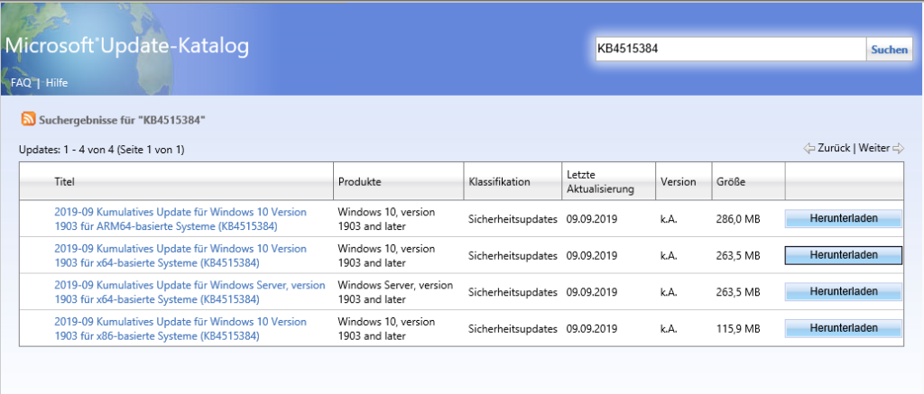 Microsofts Update-Katalog